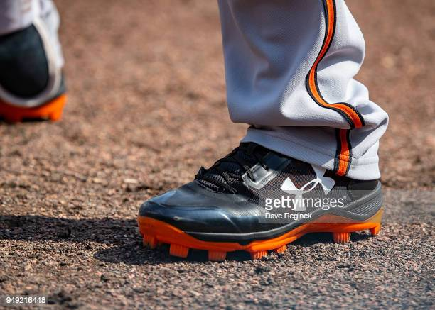 The baseball cleats of Chance Sisco of the Baltimore Orioles during a MLB game against the Detroit Tigers at Comerica Park on April 18 2018 in...