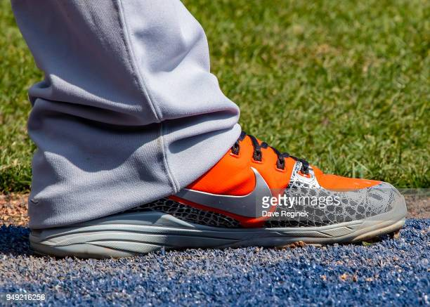 The baseball cleats of Tim Beckham of the Baltimore Orioles during a MLB game against the Detroit Tigers at Comerica Park on April 18 2018 in Detroit...