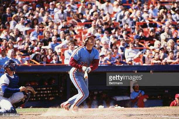 The baseball player who holds the Major League record for most career hits Pete Rose of the Philadelphia Phillies bats