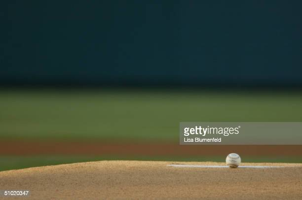 The baseball rests on the pitcher's mound during the game between the Cleveland Indians and the Anaheim Angels at Angel Stadium on June 3 2004 in...