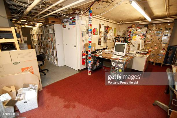 The basement at WMPG radio station at USM in Portland where a burst water pipe flooded and damaged several thousand blues record albums