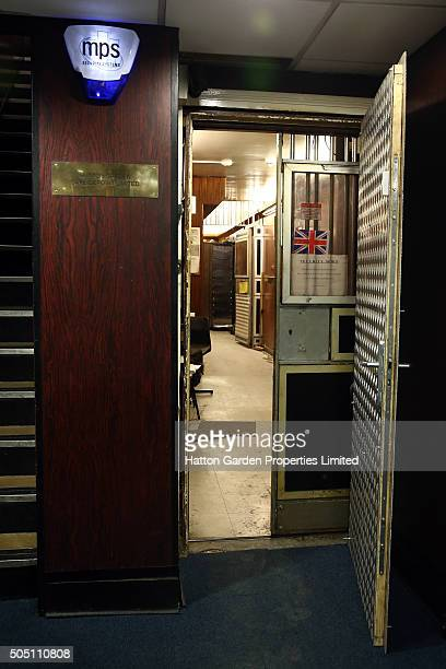The basement corridor between an exit and the underground vault of the Hatton Garden Safe Deposit Company which was raided in what has been called...