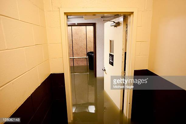 The basement of an apartment building fills with flood water on August 30 2011 in Paterson New Jersey The swollen and cresting rivers including the...