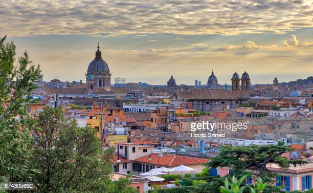 The Basilica dei Santi Ambrogio e Carlo al Corso is seen at Terrazza del Pincio on October 31 2017 in Rome Italy Rome is one of the most popular...