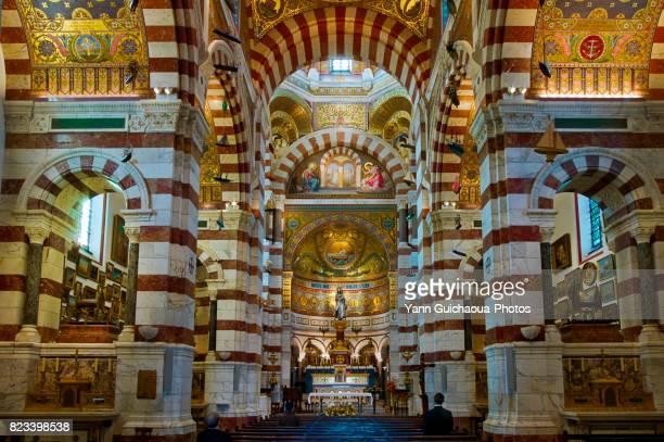 the basilica notre dame de la garde, marseille, bouches du rhône, france - basilica stock pictures, royalty-free photos & images