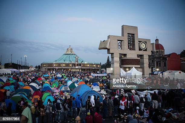 The Basilica of Guadalupe is seen during the pilgrimade to the Basilica of Guadalupe in the Day of the Virgin of Guadalupe in Mexico City Mexico on...