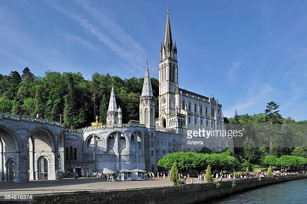 The Basilica of our Lady of the Rosary / Notre Dame du Rosaire de Lourdes at the Sanctuary of Our Lady of Lourdes, Pyrenees, France.