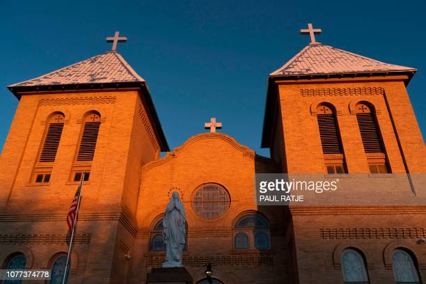 The Basilica of San Albino is pictured at dawn in Mesilla New Mexico on January 3 2019 San Albino is taking part in a program called 'Project Oak...