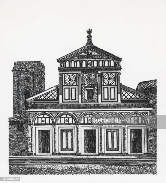 The basilica of San Miniato al Monte, Florence, drawing, Italy.