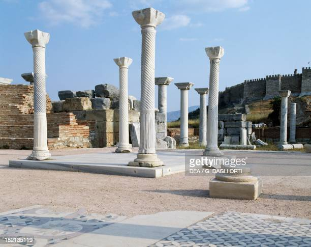 The Basilica of St John, built by Justinian in the 6th century on the site of the Tomb of the Apostle, Ephesus, Turkey. Roman Civilisation, 6th...