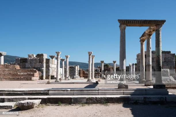 the basilica of st. john is a basilica in ephesus - basilica stock pictures, royalty-free photos & images