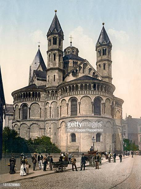 The Basilica of the Holy Apostles Cologne Germany circa 1900 The Basilica is one of the twelve Romanesque churches of Cologne
