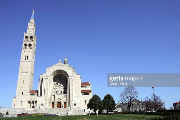 The Basilica of the National Shrine of the Immaculate Conception on the campus of Catholic University is seen in Washington DC on March 21 2008 Pope...