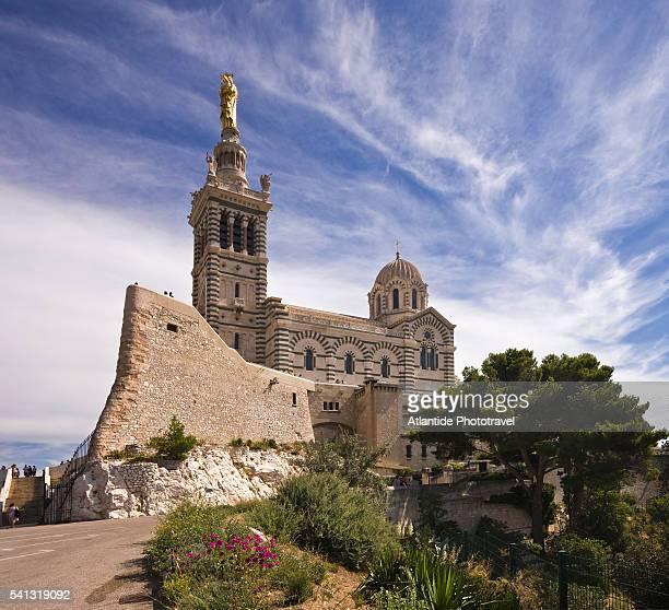 the basilique notre dame de la garde - marseille stock pictures, royalty-free photos & images