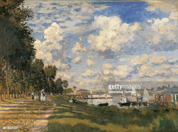 The Basin at Argenteuil by Claude Monet 19th Century oil on canvas France Paris Musée d'Orsay Whole artwork view View of the green bank and the basin...