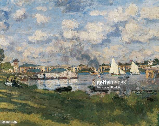The Basin at Argenteuil by Claude Monet 19th Century oil on canvas France Paris Musée d'Orsay Detail Detail of the basin with ships and the railway...