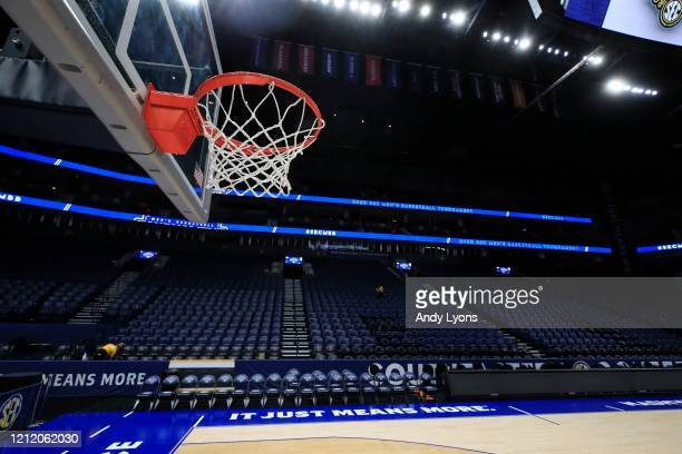 The basket and the arena sit unused after the announcement of the cancellation of the SEC Basketball Tournament at Bridgestone Arena on March 12 2020...
