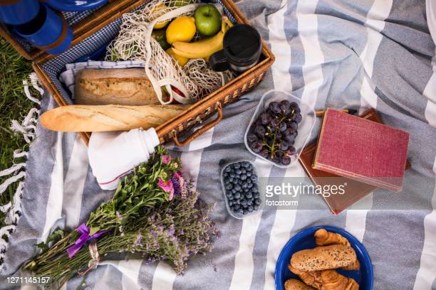 the basket for the picnic has been unpacked - picnic basket stock pictures, royalty-free photos & images