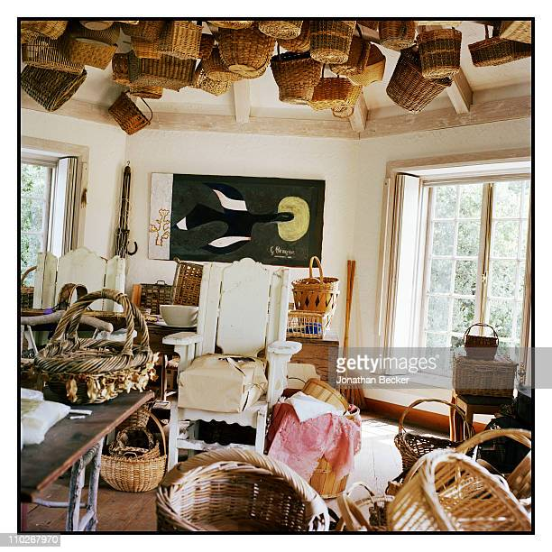 The basket house in Rachel 'Bunny' Lambert Mellon's Oak Spring garden estate featuring a painting by Georges Braque is photographed for Vanity Fair...