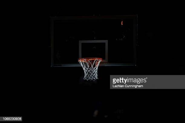 The basket is seen under spotlight before the game between the Sacramento Kings and the Toronto Raptors at Golden 1 Center on November 7 2018 in...