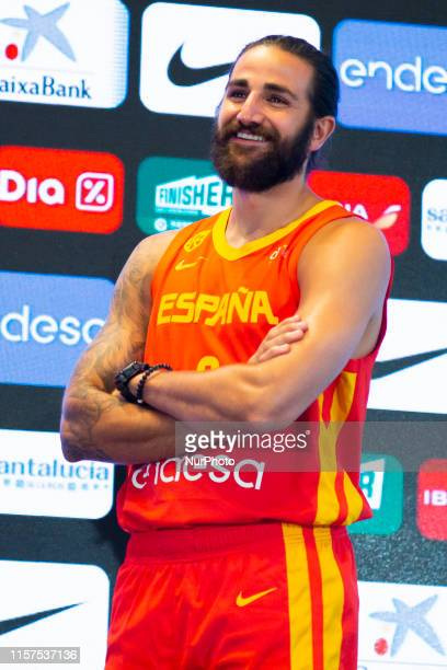 The basketball player of the Men's Basketball Team Ricky Rubio is seen during his speech at the presentation of the basketball players who are called...