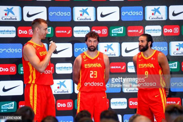The basketball players of the Men's Basketball Team Víctor Claver Sergio Llul and Ricky Rubio are seen during the presentation of the 16 basketball...