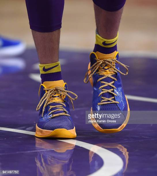 The basketball shoes worn by Lonzo Ball of the Los Angeles Lakers in the game against the Dallas Mavericks at Staples Center on March 28 2018 in Los...