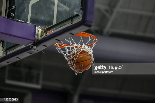 The basketball swooshes though the hoop during the game between the TCU Horned Frogs and the Oklahoma Sooners on February 16 2019 at the Ed Rae...