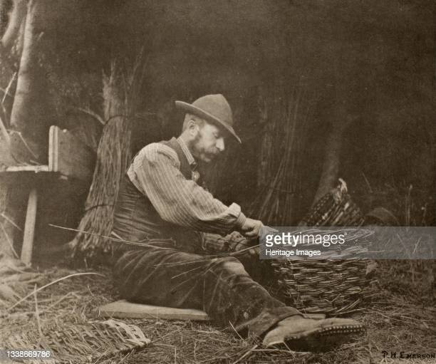 The Basket-Maker, 1888. A work made of photogravure, plate xv from 'pictures of east anglian life'. Artist Peter Henry Emerson.