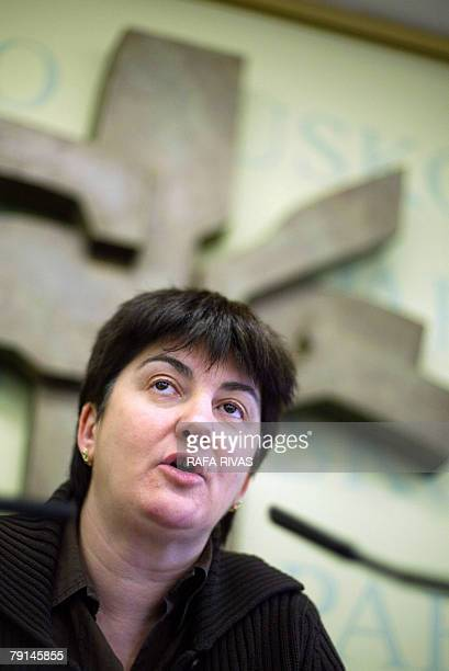 The Basque Lands' Communist Party EHAKPCTV representative Nekane Erauskin gives a press conference on their possible illegal status 21 January 2008...