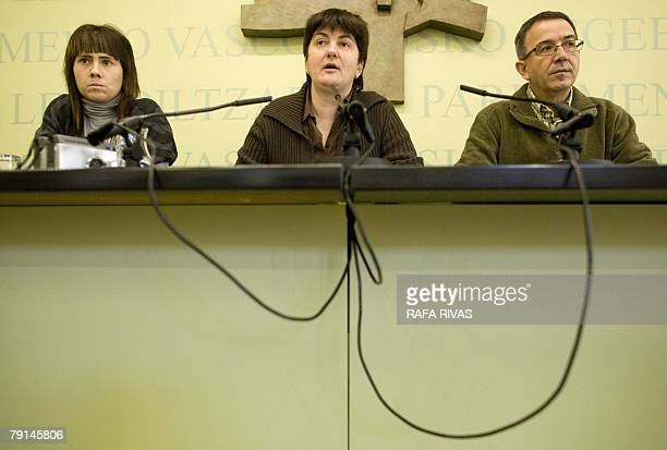 The Basque Lands' Communist Party EHAKPCTV representatives Ane Auzmendi Julian Martinez and Nekane Erauskin give a press conference on their possible...