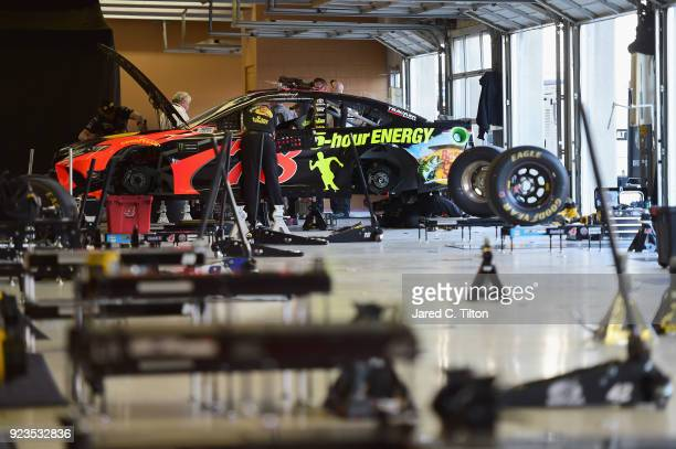 The Bass Pro Shops/5hour Energy Toyota driven by Martin Truex Jr is seen in the garage area during qualifying for the Monster Energy NASCAR Cup...