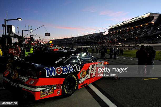 The Bass Pro Shops/Mobil 1 Chevrolet driven by Tony Stewart is seen on the grid prior to the NASCAR Sprint Cup Series Budweiser Duel 1 at Daytona...