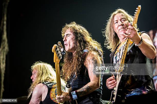 The bassist and the guitarists of the band Iron Maiden Steve Harris Dave Murray and Janick Gers in concert at Mediolanum Forum of Assago Assago Italy...