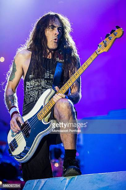 The bassist of the band Iron Maiden Steve Harris in concert for the Rock in Idro Festival at the Arena Parco Nord in Bologna Bologna Italy 1st June...