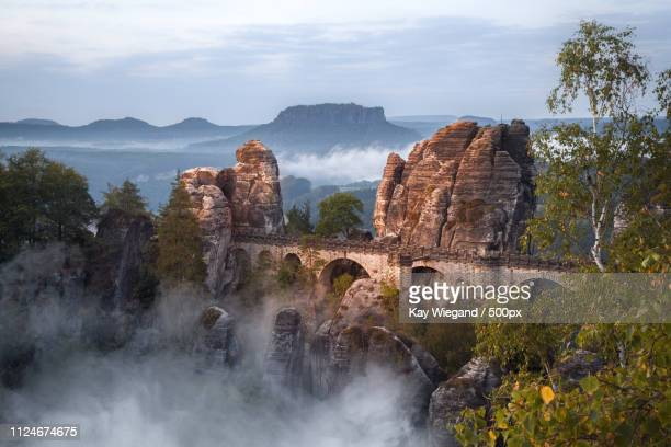 the bastei bridge and castle the most famous rock formation of t - saxony stock pictures, royalty-free photos & images