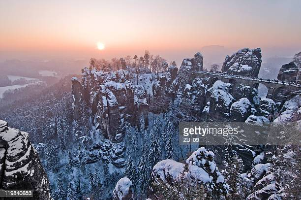 the bastei in winter - saxony stock pictures, royalty-free photos & images