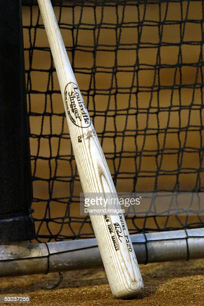 The bat of catcher Jorge Posada of the New York Yankees leans against the batting cage during batting practice prior to tonight's Spring Training...