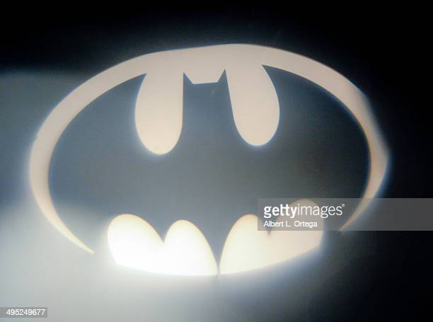 The Bat signal at the 'Batman 66 Meets The Green Hornet' Comic Book Kickoff Fatman On Batman Live Podcast With Kevin Smith And Ralph Garman held at...