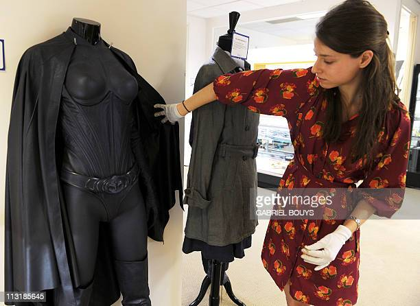 The Batgirl costume worn by Alicia Silverstone is on display in Beverly Hills California on April 26 2011 Dresses of Lady Diana and items of others...