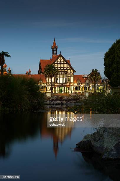the bath house at night - rotorua stock pictures, royalty-free photos & images