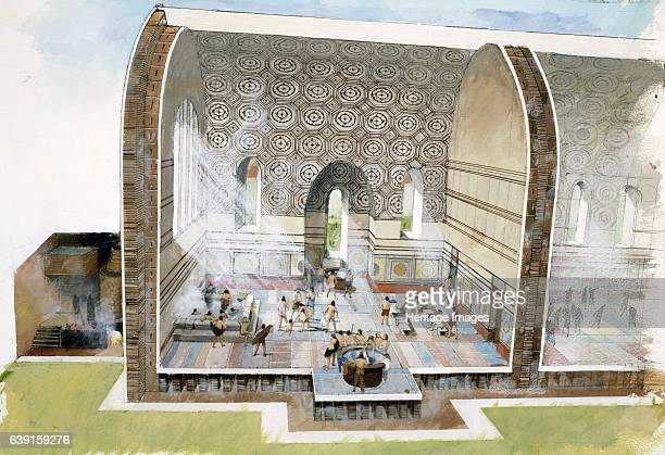 The bath house at Wroxeter Roman City c1st3rd century Wroxeter Roman City Shropshire Cutaway reconstruction drawing of bath house architecture as it...