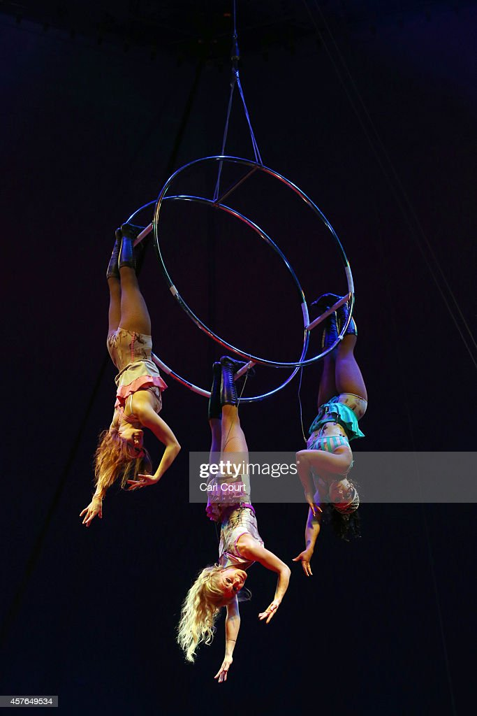 The 'Bathing Beauties' perform during a photocall at the Moscow State Circus in Clapham on October 22, 2014 in London, England. The circus is located at Clapham Common from 22nd October to 2nd November.