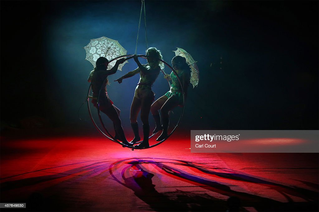 The 'Bathing Beauties' prepare to perform during a photocall at the Moscow State Circus in Clapham on October 22, 2014 in London, England. The circus is located at Clapham Common from 22nd October to 2nd November.