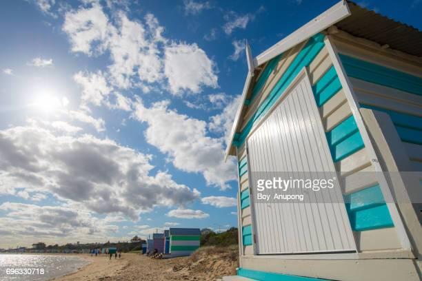 The bathing boxes in Brighton beach of Melbourne, Australia.