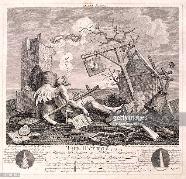 'The Bathos' 1764 showing Time expiring collapsed against a broken column with the blade of his scythe snapped and his hour glass smashed blowing out...