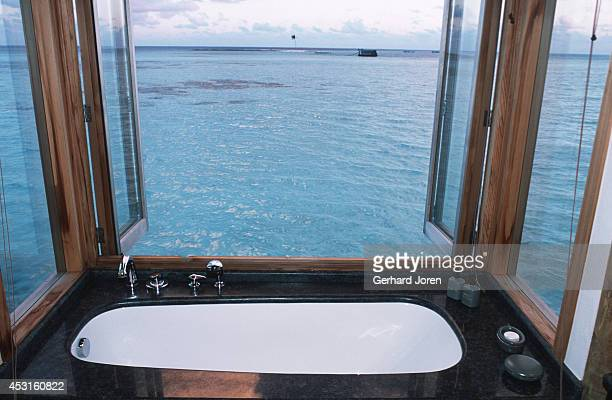 The bathroom in a villa at Soneva Gili Resort Spa a tenminute boat ride from Male the capital of the Maldives Fortyfour stilted villas are crafted in...