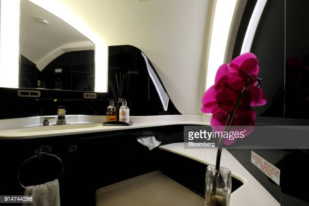 The bathroom interior of an Embraer SA Legacy 650E jet is seen during the Singapore Airshow held at the Changi Exhibition Centre in Singapore on...
