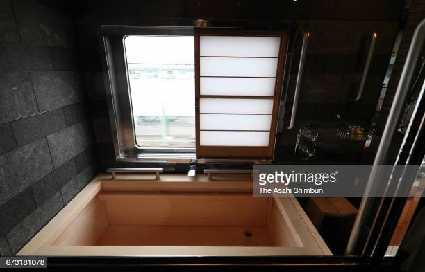 The bathroom of the 'ShikiShima' Suite room of the JR East's 'Train Suite ShikiShima' is seen during the press preview on April 26 2017 in Tokyo...