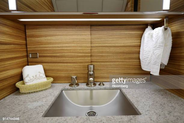 The bathroom sink of an Embraer SA Legacy 500 jet is seen during the Singapore Airshow held at the Changi Exhibition Centre in Singapore on Tuesday...